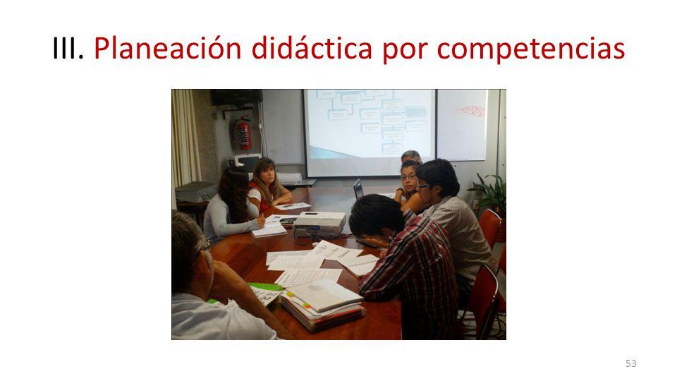 III. Planeación didáctica por competencias 53