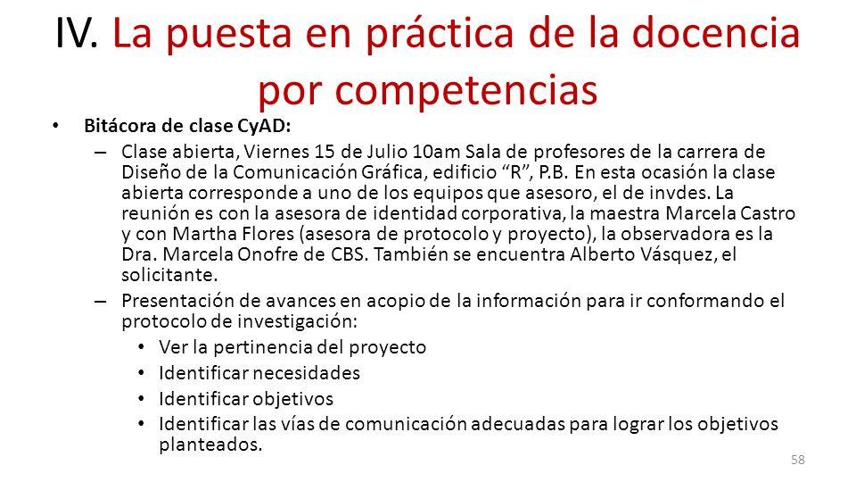 IV. La puesta en práctica de la docencia por competencias Bitácora de clase CyAD: – Clase abierta, Viernes 15 de Julio 10am Sala de profesores de la c