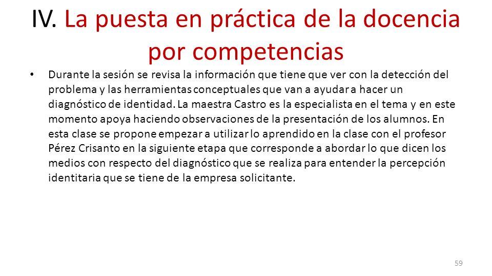 IV. La puesta en práctica de la docencia por competencias Durante la sesión se revisa la información que tiene que ver con la detección del problema y