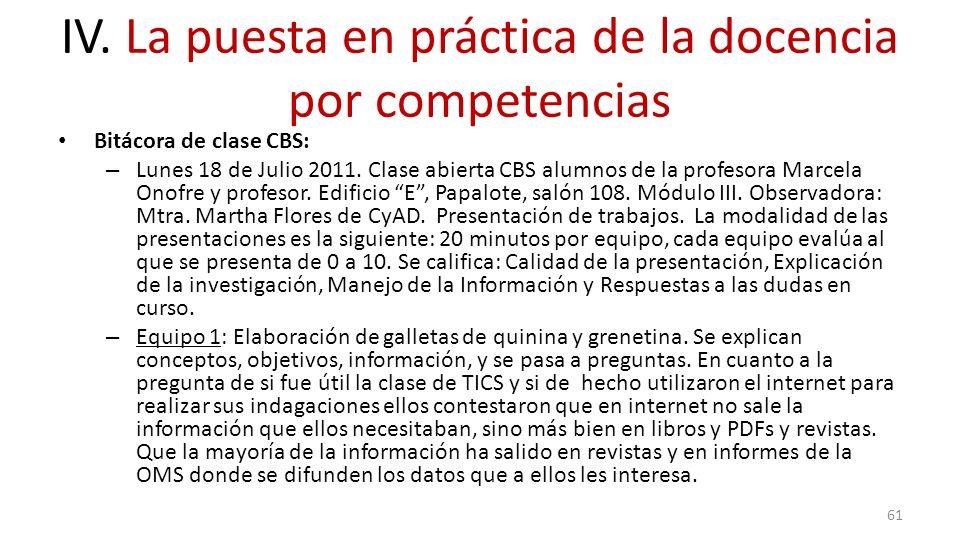 IV. La puesta en práctica de la docencia por competencias Bitácora de clase CBS: – Lunes 18 de Julio 2011. Clase abierta CBS alumnos de la profesora M