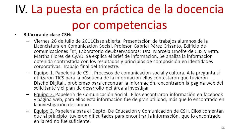 IV. La puesta en práctica de la docencia por competencias Bitácora de clase CSH: – Viernes 26 de Julio de 2011Clase abierta. Presentación de trabajos