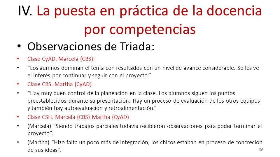 IV. La puesta en práctica de la docencia por competencias Observaciones de Triada: Clase CyAD. Marcela (CBS): Los aumnos dominan el tema con resultado