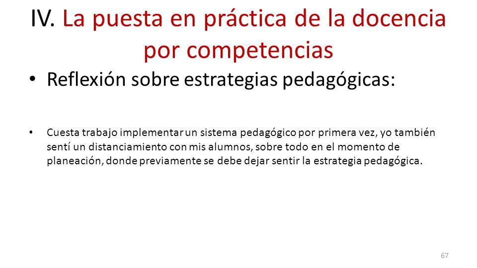 IV. La puesta en práctica de la docencia por competencias Reflexión sobre estrategias pedagógicas: Cuesta trabajo implementar un sistema pedagógico po