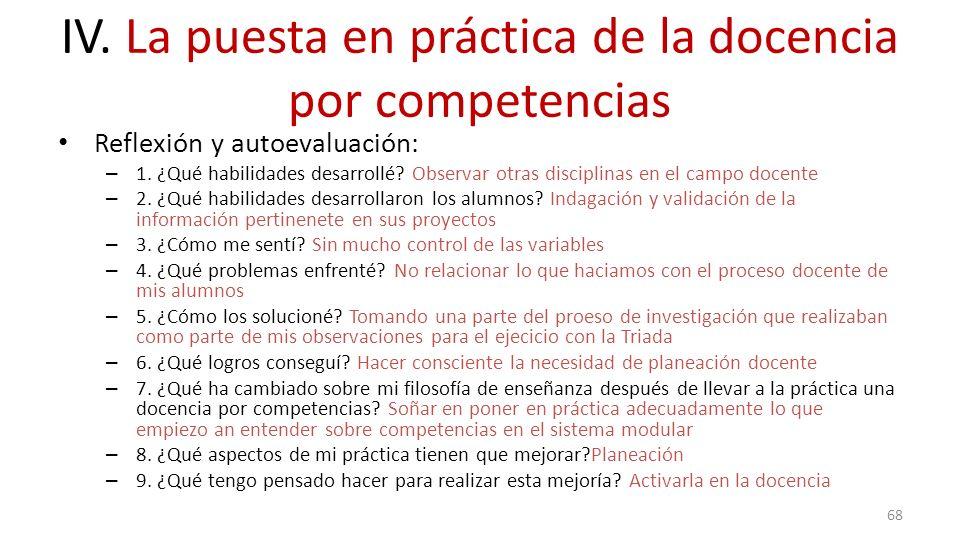 IV. La puesta en práctica de la docencia por competencias Reflexión y autoevaluación: – 1. ¿Qué habilidades desarrollé? Observar otras disciplinas en