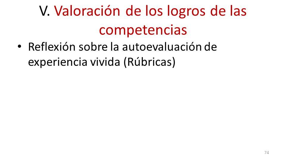 V. Valoración de los logros de las competencias Reflexión sobre la autoevaluación de experiencia vivida (Rúbricas) 74