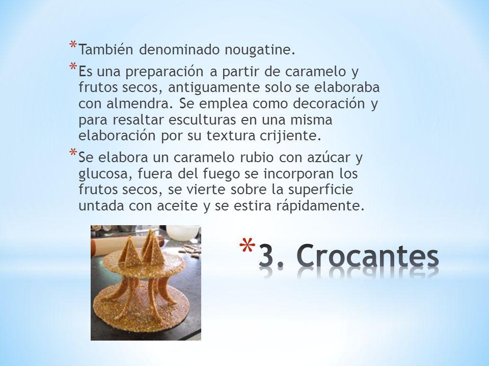 * También denominado nougatine. * Es una preparación a partir de caramelo y frutos secos, antiguamente solo se elaboraba con almendra. Se emplea como