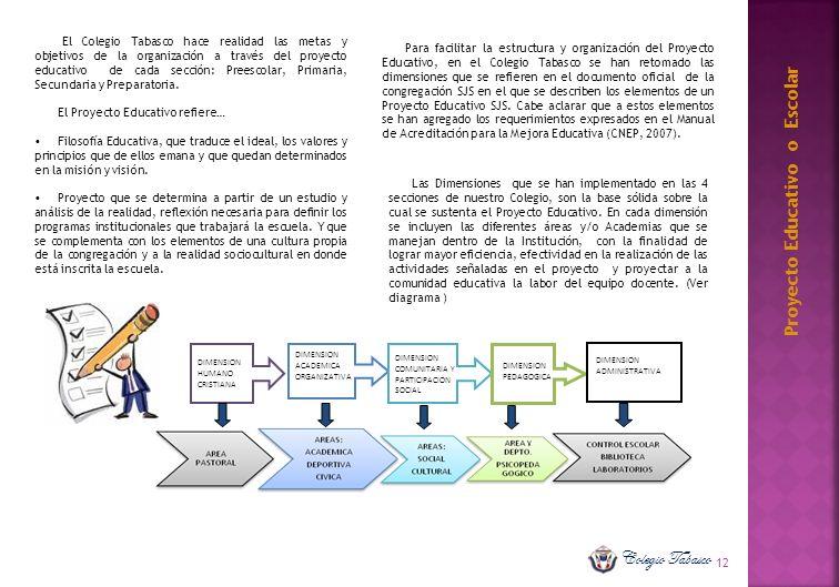 12 El Colegio Tabasco hace realidad las metas y objetivos de la organización a través del proyecto educativo de cada sección: Preescolar, Primaria, Se