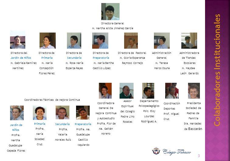 Colaboradores Institucionales Asesor Espiritual del Colegio Padre Lino Rosales 3 Coordinación Deportes Prof. Miguel Cruz Directora General M. Martha A