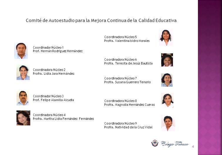 4 Comité de Autoestudio para la Mejora Continua de la Calidad Educativa Coordinador Núcleo 1 Prof. Hernán Rodríguez Hernández Coordinadora Núcleo 2 Pr