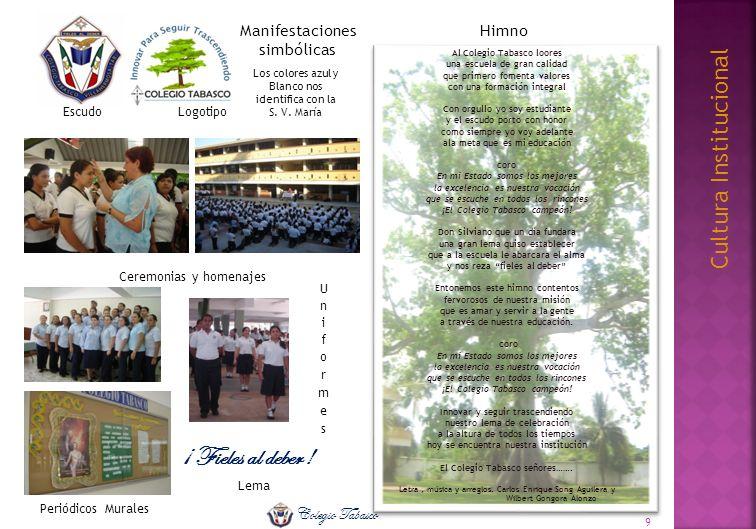 Cultura Institucional ¡ Fieles al deber ! EscudoLogotipo Lema Ceremonias y homenajes Periódicos Murales Himno Al Colegio Tabasco loores una escuela de