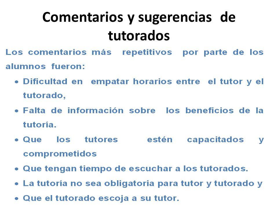 Comentarios y sugerencias de tutorados