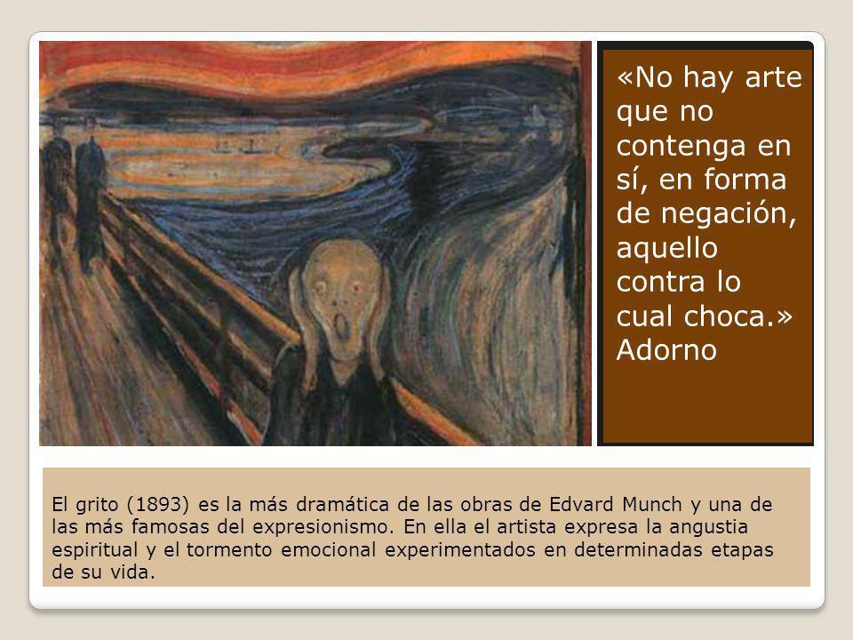 El grito (1893) es la más dramática de las obras de Edvard Munch y una de las más famosas del expresionismo. En ella el artista expresa la angustia es