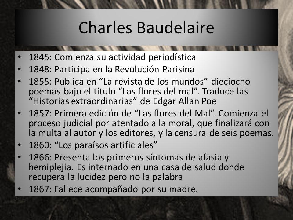 1845: Comienza su actividad periodística 1848: Participa en la Revolución Parisina 1855: Publica en La revista de los mundos dieciocho poemas bajo el