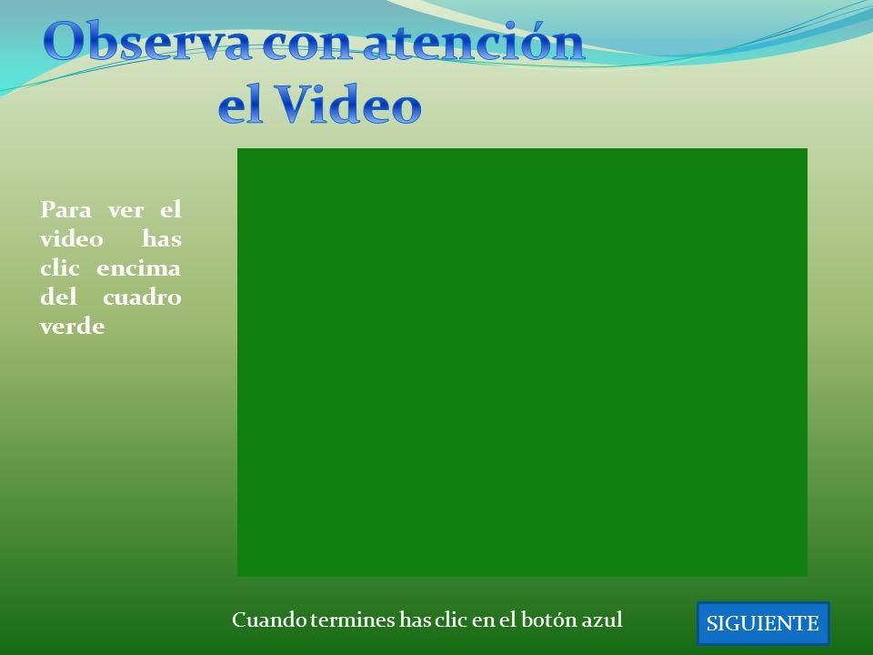 SIGUIENTE Cuando termines has clic en el botón azul Para ver el video has clic encima del cuadro verde