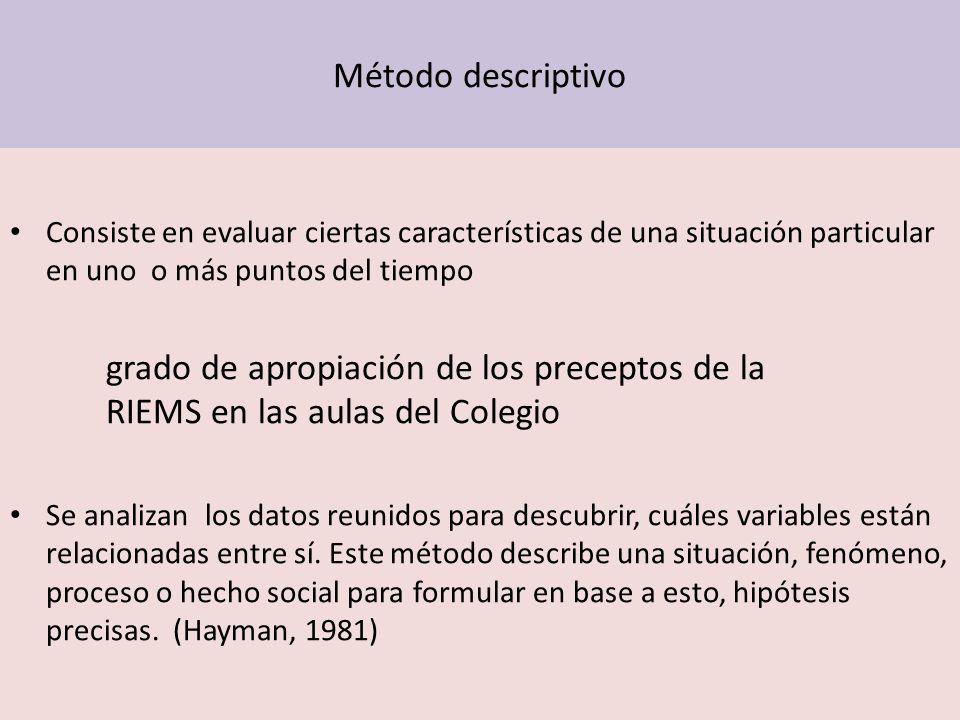 Método descriptivo Consiste en evaluar ciertas características de una situación particular en uno o más puntos del tiempo grado de apropiación de los