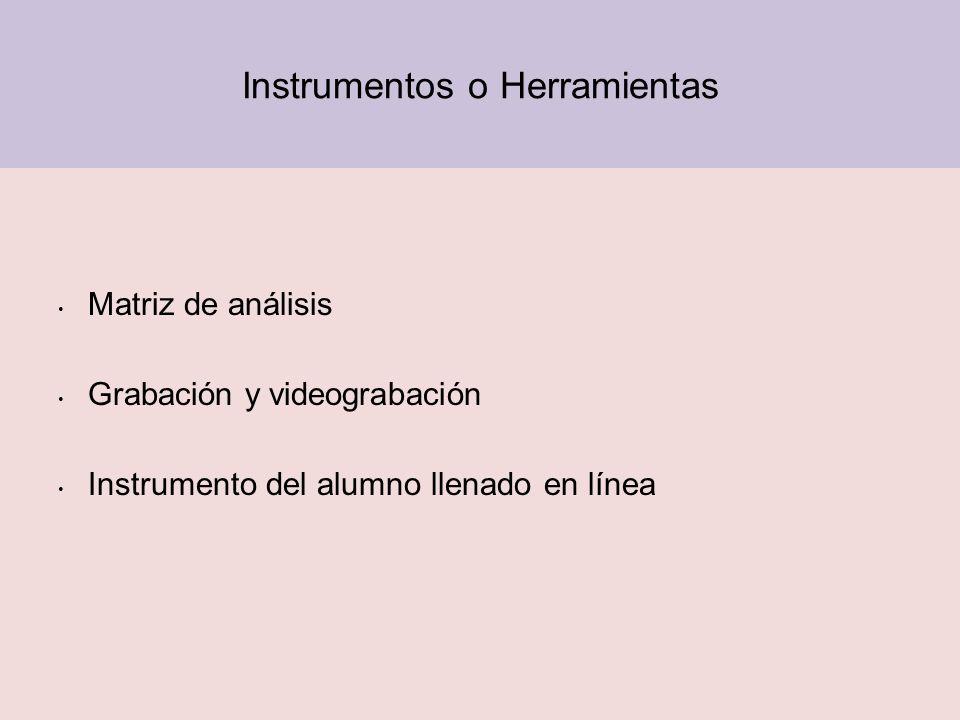 Instrumentos o Herramientas Matriz de análisis Grabación y videograbación Instrumento del alumno llenado en línea