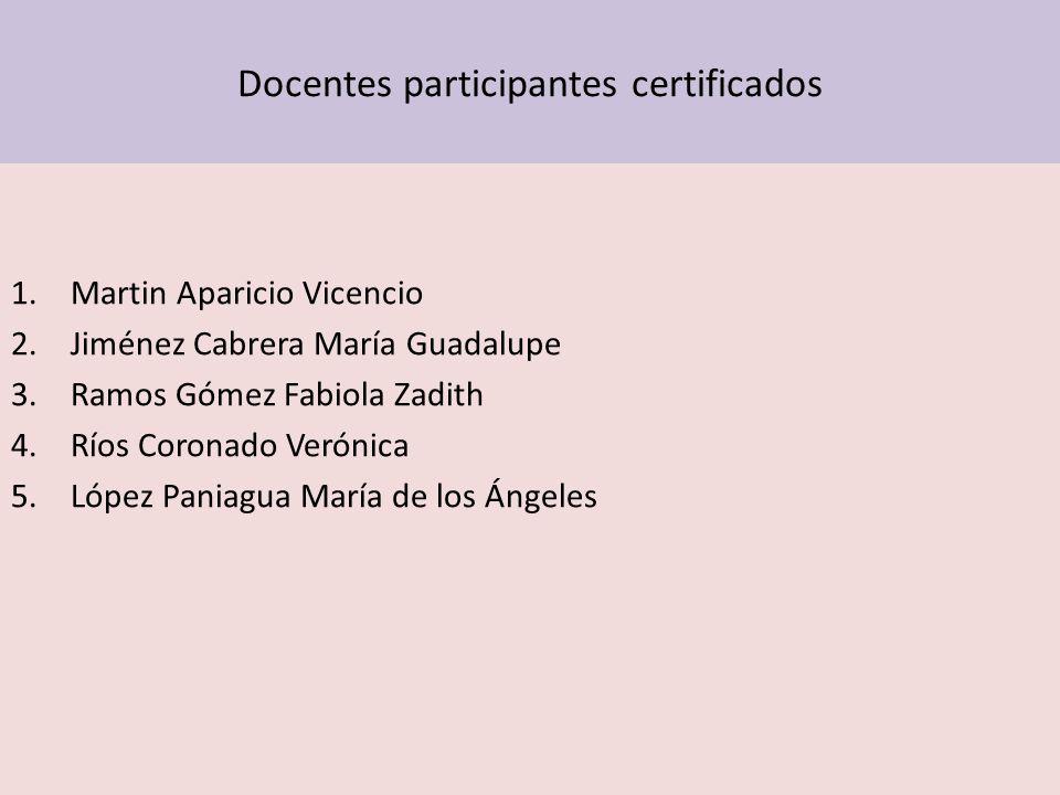 Docentes participantes certificados 1.Martin Aparicio Vicencio 2.Jiménez Cabrera María Guadalupe 3.Ramos Gómez Fabiola Zadith 4.Ríos Coronado Verónica