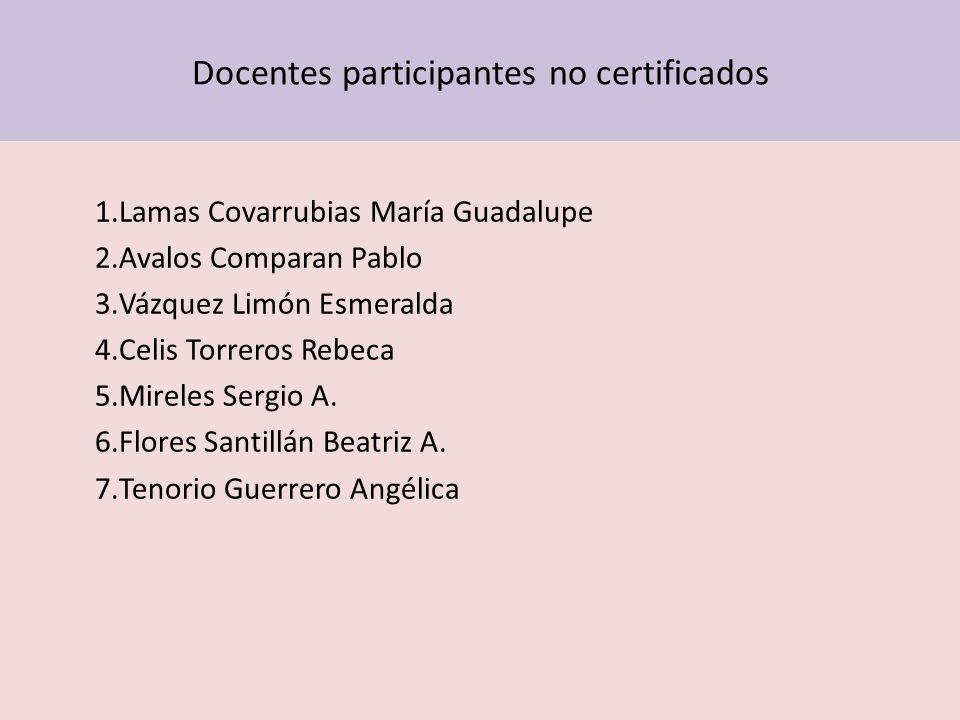 Docentes participantes no certificados 1.Lamas Covarrubias María Guadalupe 2.Avalos Comparan Pablo 3.Vázquez Limón Esmeralda 4.Celis Torreros Rebeca 5