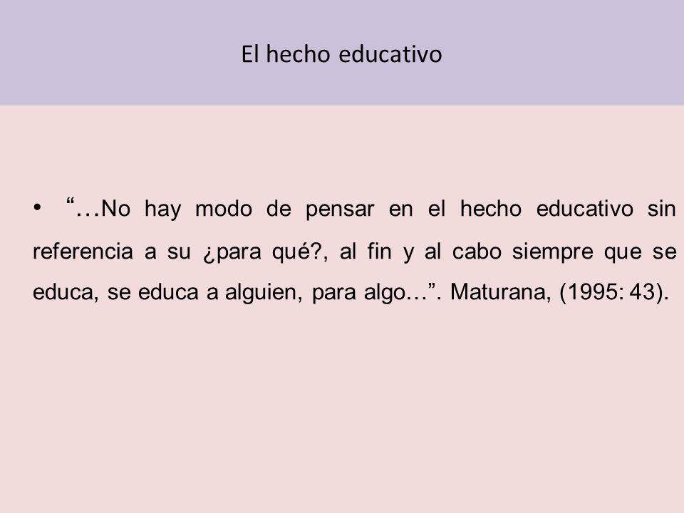 El hecho educativo … No hay modo de pensar en el hecho educativo sin referencia a su ¿para qué?, al fin y al cabo siempre que se educa, se educa a alg