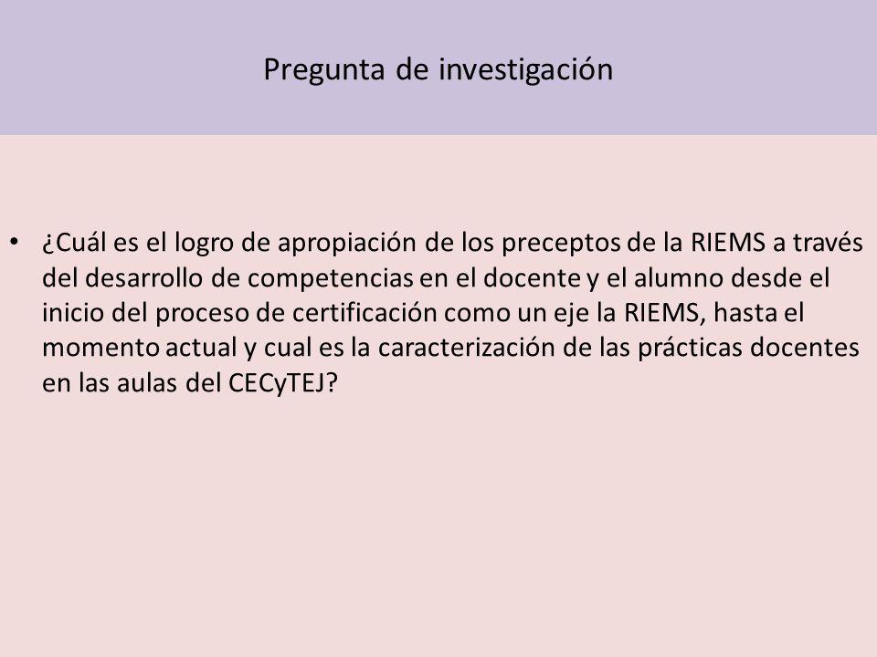 Pregunta de investigación ¿Cuál es el logro de apropiación de los preceptos de la RIEMS a través del desarrollo de competencias en el docente y el alu