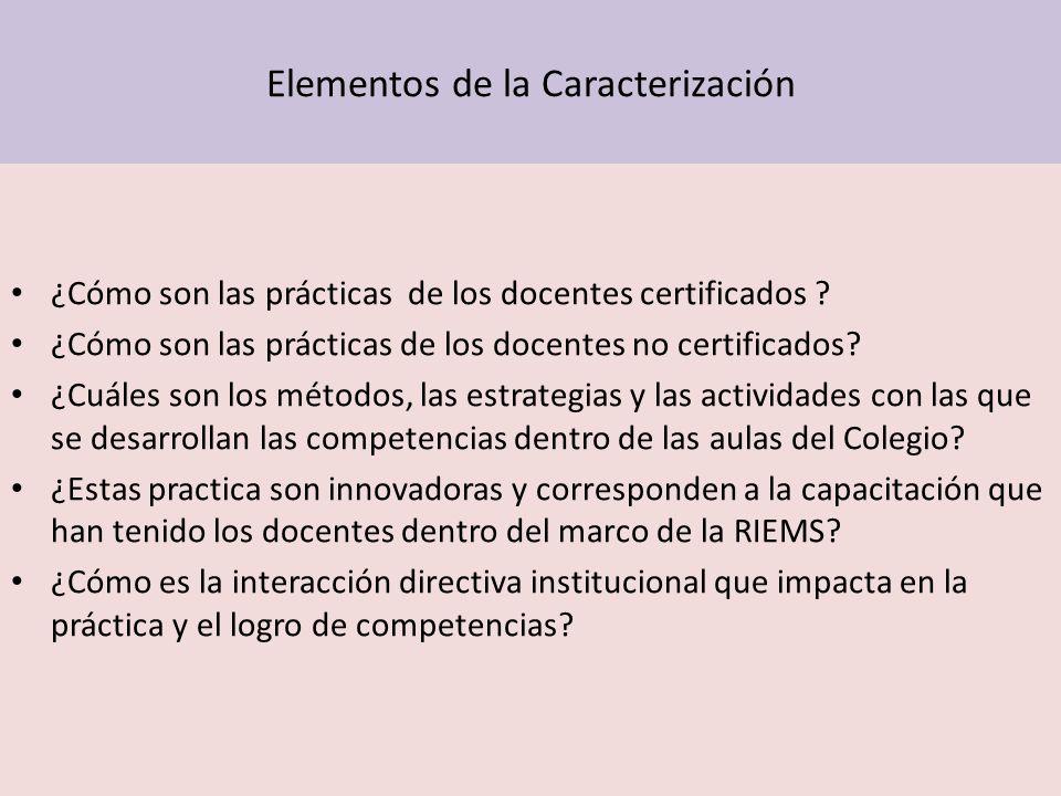 Elementos de la Caracterización ¿Cómo son las prácticas de los docentes certificados ? ¿Cómo son las prácticas de los docentes no certificados? ¿Cuále