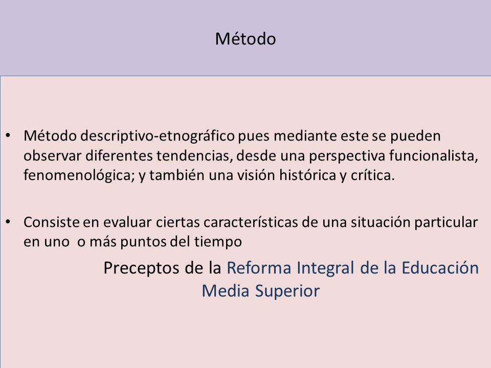Método Método descriptivo-etnográfico pues mediante este se pueden observar diferentes tendencias, desde una perspectiva funcionalista, fenomenológica