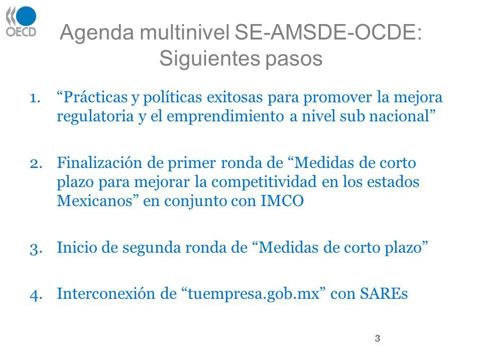 Agenda multinivel SE-AMSDE-OCDE: Siguientes pasos 1.Prácticas y políticas exitosas para promover la mejora regulatoria y el emprendimiento a nivel sub nacional 2.Finalización de primer ronda de Medidas de corto plazo para mejorar la competitividad en los estados Mexicanos en conjunto con IMCO 3.Inicio de segunda ronda de Medidas de corto plazo 4.Interconexión de tuempresa.gob.mx con SAREs 3