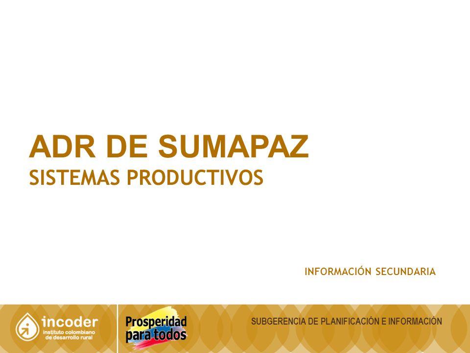 ADR DE SUMAPAZ SISTEMAS PRODUCTIVOS INFORMACIÓN SECUNDARIA SUBGERENCIA DE PLANIFICACIÓN E INFORMACIÓN