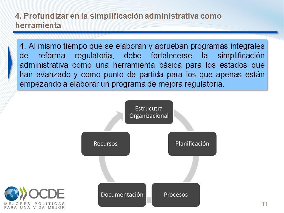 11 4. Profundizar en la simplificación administrativa como herramienta 4. Al mismo tiempo que se elaboran y aprueban programas integrales de reforma r