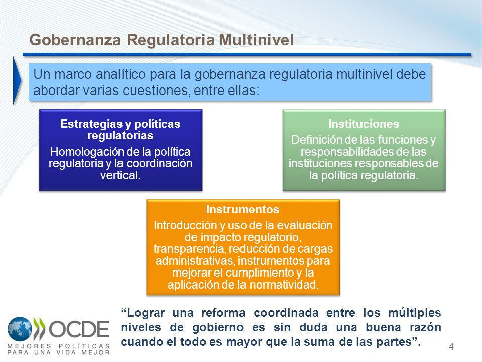 4 Un marco analítico para la gobernanza regulatoria multinivel debe abordar varias cuestiones, entre ellas: Gobernanza Regulatoria Multinivel Estrategias y políticas regulatorias Homologación de la política regulatoria y la coordinación vertical.
