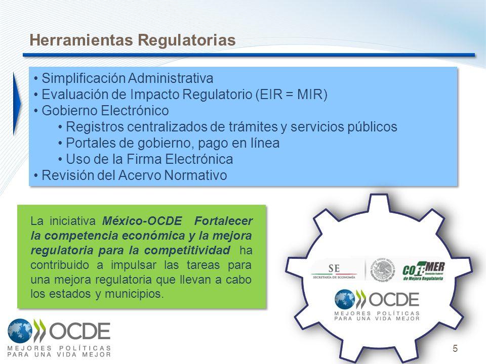 5 Simplificación Administrativa Evaluación de Impacto Regulatorio (EIR = MIR) Gobierno Electrónico Registros centralizados de trámites y servicios púb
