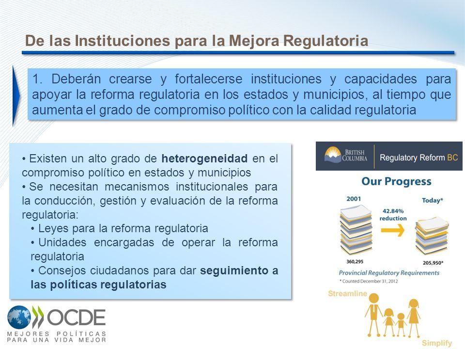 7 De las Instituciones para la Mejora Regulatoria Existen un alto grado de heterogeneidad en el compromiso político en estados y municipios Se necesit