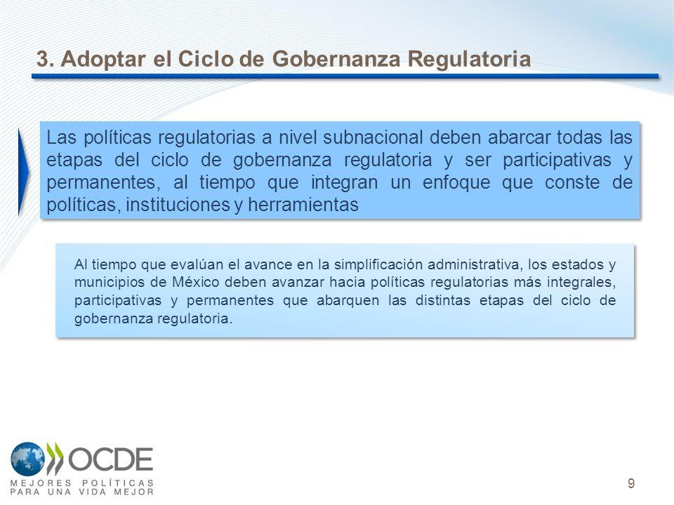 9 3. Adoptar el Ciclo de Gobernanza Regulatoria Al tiempo que evalúan el avance en la simplificación administrativa, los estados y municipios de Méxic