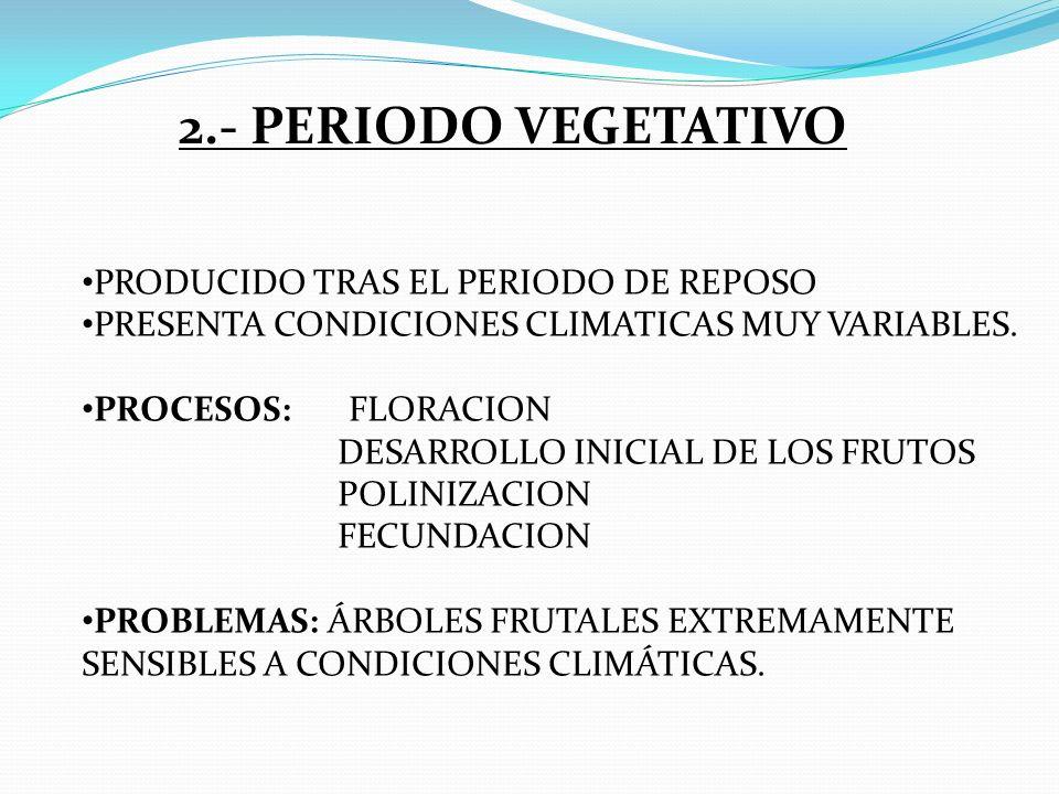2.- PERIODO VEGETATIVO PRODUCIDO TRAS EL PERIODO DE REPOSO PRESENTA CONDICIONES CLIMATICAS MUY VARIABLES. PROCESOS: FLORACION DESARROLLO INICIAL DE LO