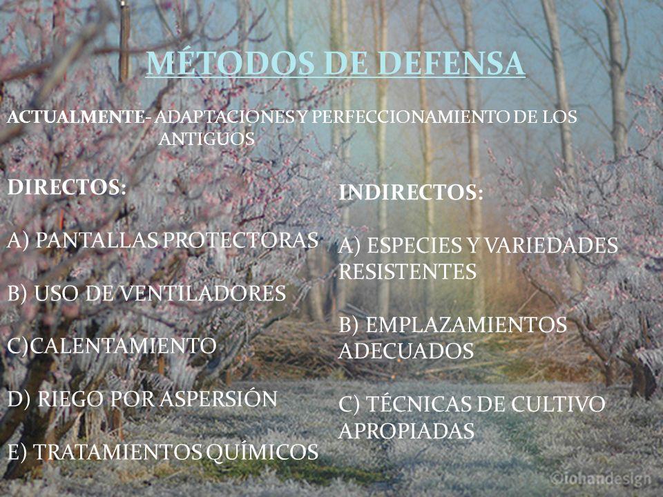 MÉTODOS DE DEFENSA ACTUALMENTE- ADAPTACIONES Y PERFECCIONAMIENTO DE LOS ANTIGUOS INDIRECTOS: A) ESPECIES Y VARIEDADES RESISTENTES B) EMPLAZAMIENTOS AD