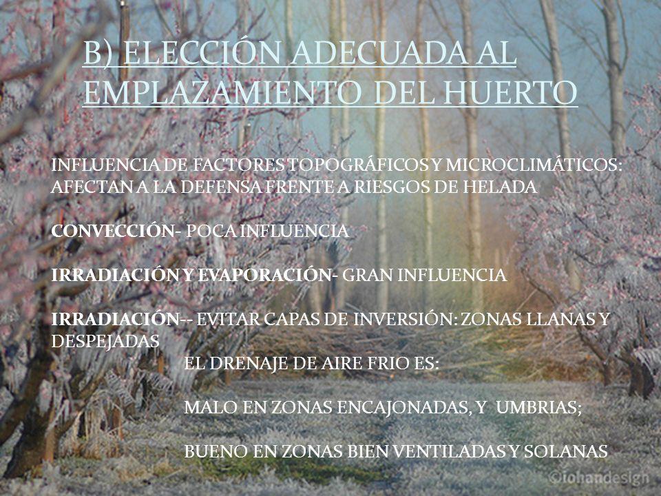 INFLUENCIA DE FACTORES TOPOGRÁFICOS Y MICROCLIMÁTICOS: AFECTAN A LA DEFENSA FRENTE A RIESGOS DE HELADA CONVECCIÓN- POCA INFLUENCIA IRRADIACIÓN Y EVAPORACIÓN- GRAN INFLUENCIA IRRADIACIÓN-- EVITAR CAPAS DE INVERSIÓN: ZONAS LLANAS Y DESPEJADAS EL DRENAJE DE AIRE FRIO ES: MALO EN ZONAS ENCAJONADAS, Y UMBRIAS; BUENO EN ZONAS BIEN VENTILADAS Y SOLANAS B) ELECCIÓN ADECUADA AL EMPLAZAMIENTO DEL HUERTO