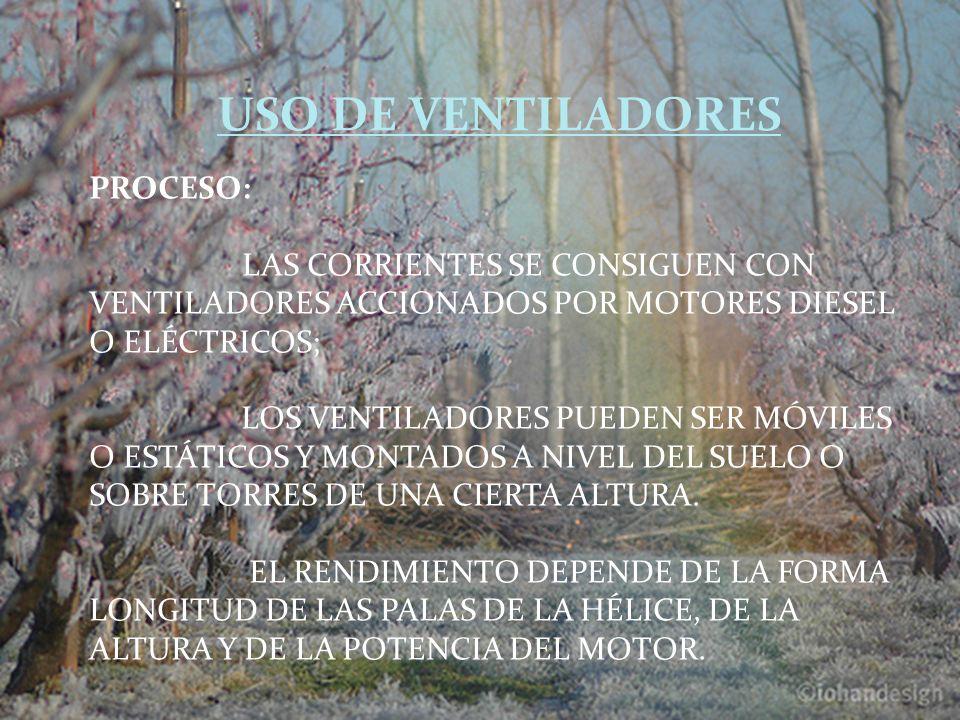 PROCESO: LAS CORRIENTES SE CONSIGUEN CON VENTILADORES ACCIONADOS POR MOTORES DIESEL O ELÉCTRICOS; LOS VENTILADORES PUEDEN SER MÓVILES O ESTÁTICOS Y MONTADOS A NIVEL DEL SUELO O SOBRE TORRES DE UNA CIERTA ALTURA.