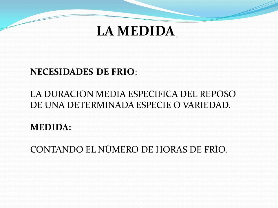 LA MEDIDA NECESIDADES DE FRIO: LA DURACION MEDIA ESPECIFICA DEL REPOSO DE UNA DETERMINADA ESPECIE O VARIEDAD. MEDIDA: CONTANDO EL NÚMERO DE HORAS DE F