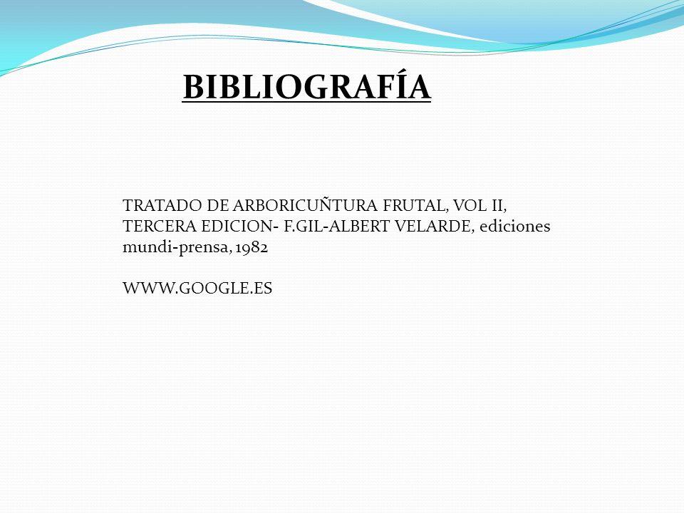 BIBLIOGRAFÍA TRATADO DE ARBORICUÑTURA FRUTAL, VOL II, TERCERA EDICION- F.GIL-ALBERT VELARDE, ediciones mundi-prensa, 1982 WWW.GOOGLE.ES