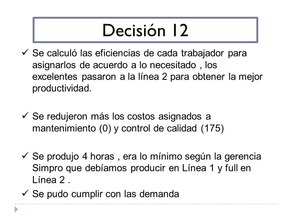 Decisión 12 Se calculó las eficiencias de cada trabajador para asignarlos de acuerdo a lo necesitado, los excelentes pasaron a la línea 2 para obtener