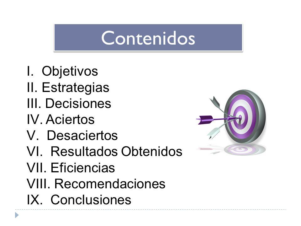 Contenidos I. Objetivos II. Estrategias III. Decisiones IV. Aciertos V. Desaciertos VI. Resultados Obtenidos VII. Eficiencias VIII. Recomendaciones IX