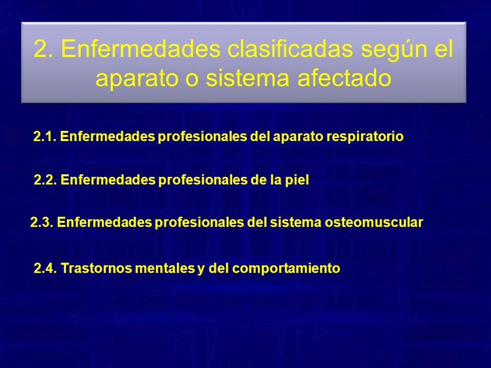 2. Enfermedades clasificadas según el aparato o sistema afectado 2.1. Enfermedades profesionales del aparato respiratorio 2.2. Enfermedades profesiona