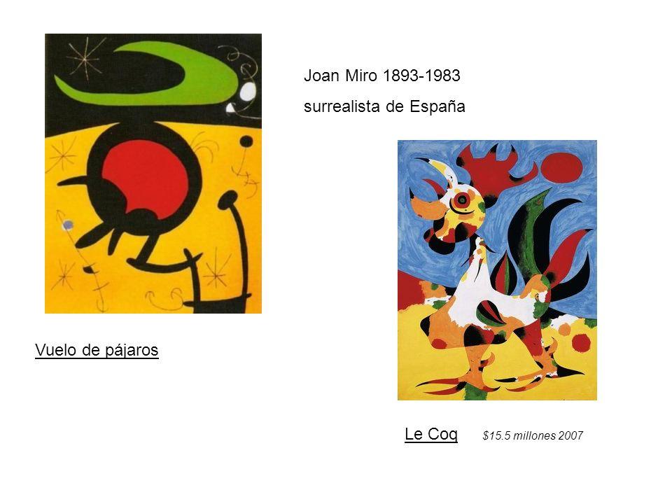 Joan Miro 1893-1983 surrealista de España Vuelo de pájaros Le Coq $15.5 millones 2007
