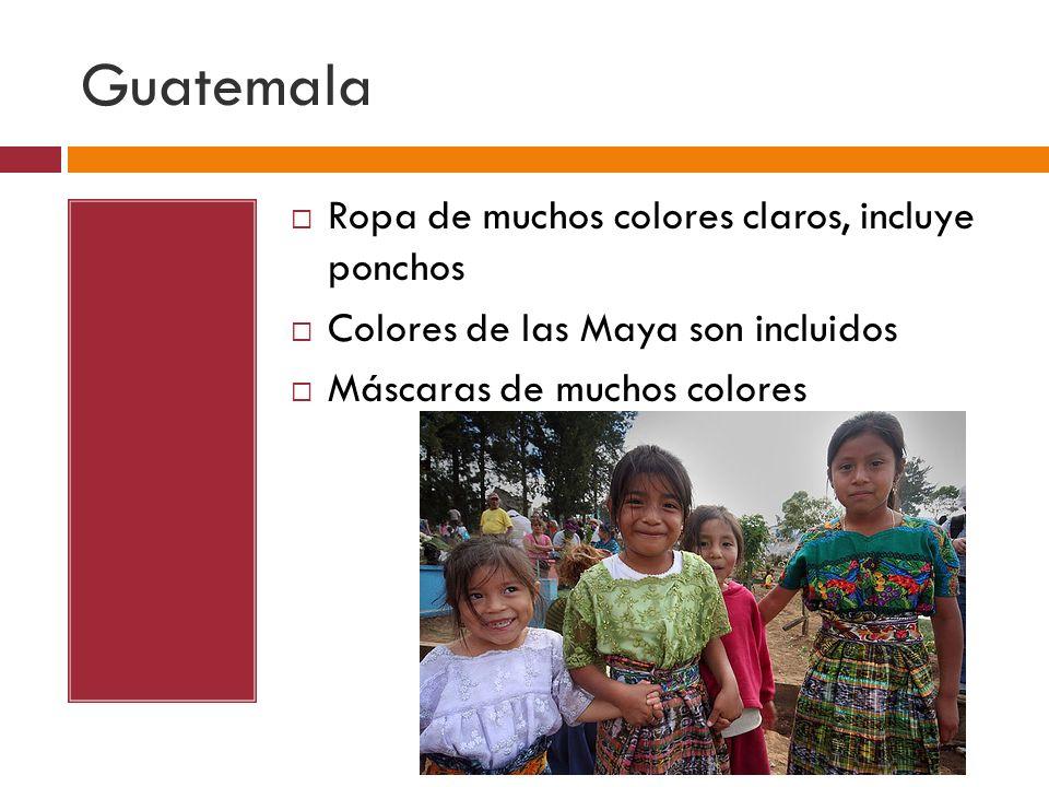 Guatemala Ropa de muchos colores claros, incluye ponchos Colores de las Maya son incluidos Máscaras de muchos colores