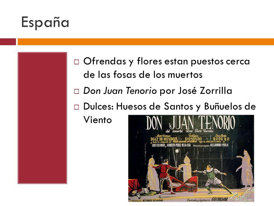 España Ofrendas y flores estan puestos cerca de las fosas de los muertos Don Juan Tenorio por José Zorrilla Dulces: Huesos de Santos y Buñuelos de Vie