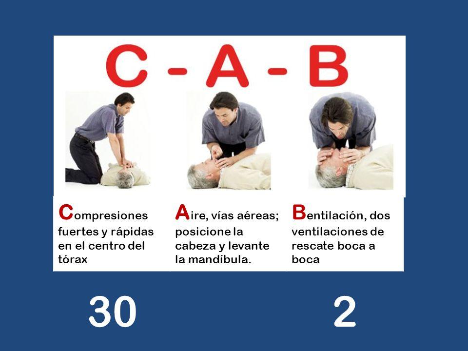 C ompresiones fuertes y rápidas en el centro del tórax A ire, vías aéreas; posicione la cabeza y levante la mandíbula. B entilación, dos ventilaciones