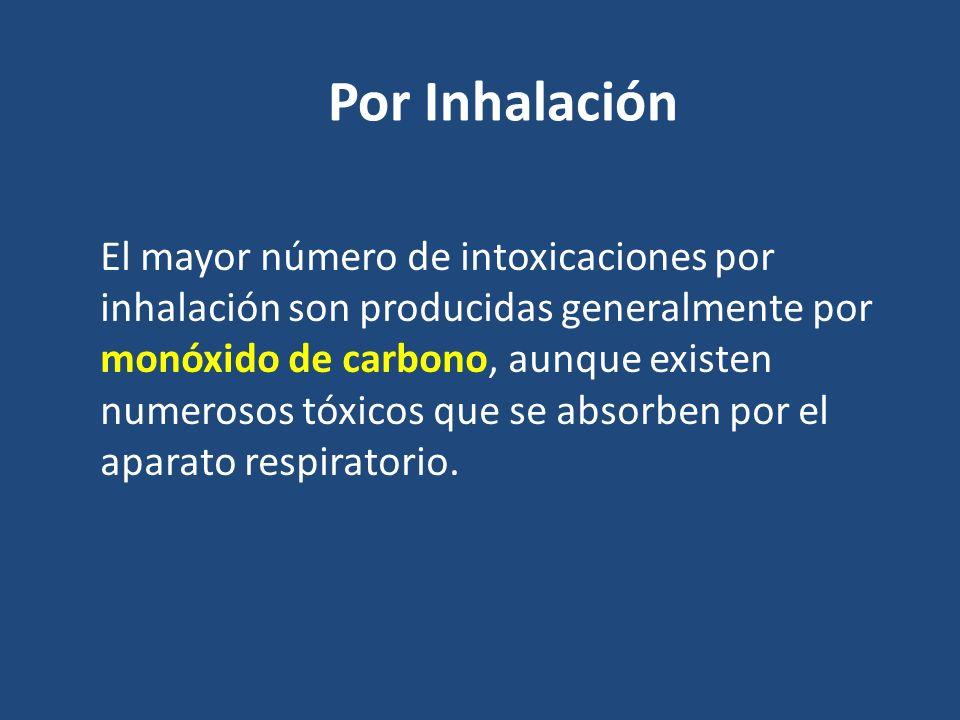 Por Inhalación El mayor número de intoxicaciones por inhalación son producidas generalmente por monóxido de carbono, aunque existen numerosos tóxicos