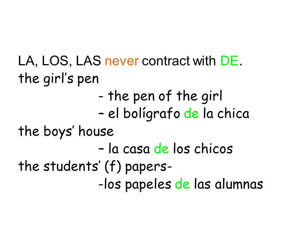 La práctica Complete each sentence with de, del, de la, de los, de las.