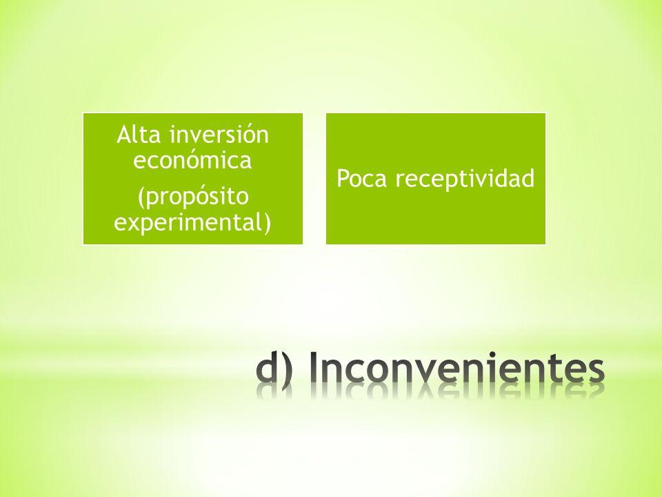 Alta inversión económica (propósito experimental) Poca receptividad