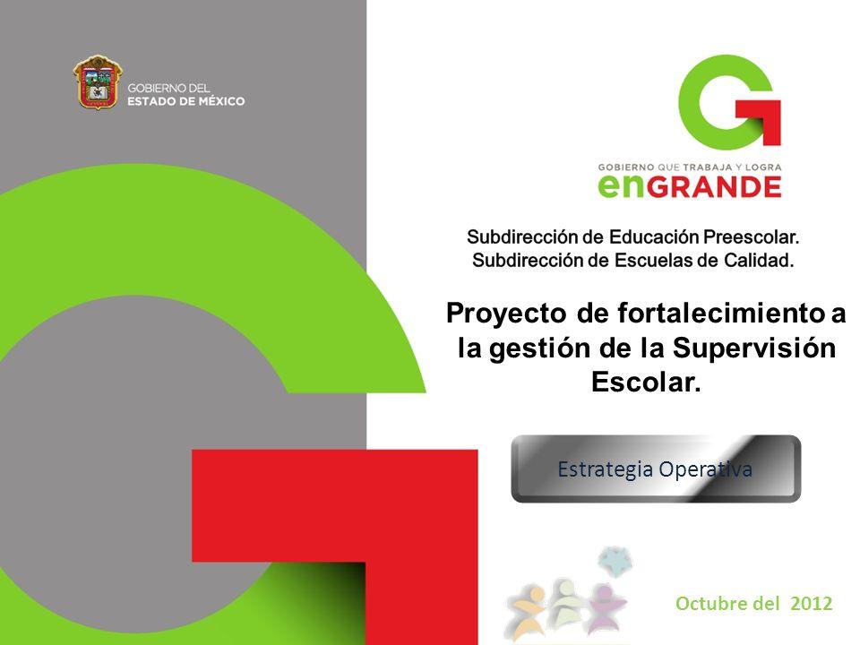 Proyecto de fortalecimiento a la gestión de la Supervisión Escolar. Estrategia Operativa Octubre del 2012